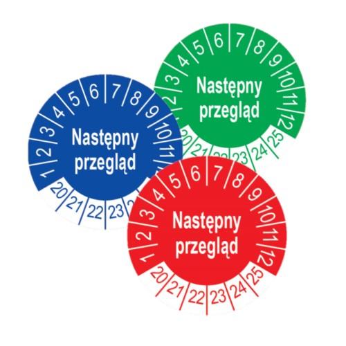 Etykiety przeglądowe, tło niebieskie, czerwone, zielone