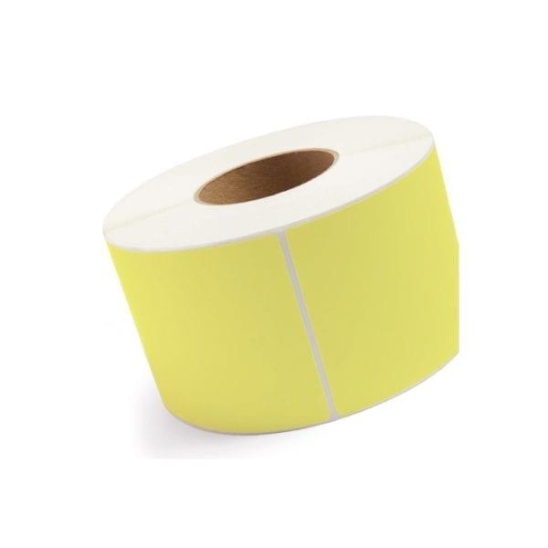 Etykiety samoprzylepne do drukarek, żółte - papier termiczny