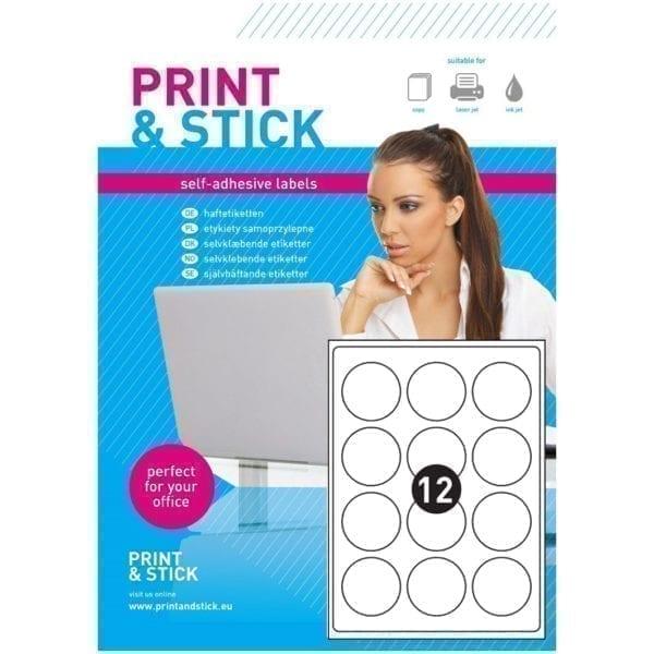 Etykiety samoprzylepne A4 do drukarek, białe kółka 60 mm