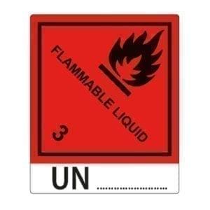 etykieta samoprzylepna ADR 3 materiały zapalne ciekle + numer UN